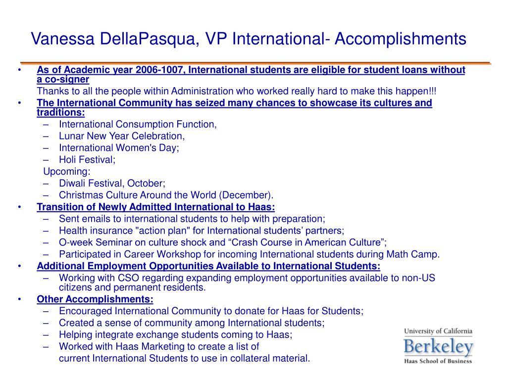 Vanessa DellaPasqua, VP International- Accomplishments