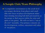a sample club team philosophy