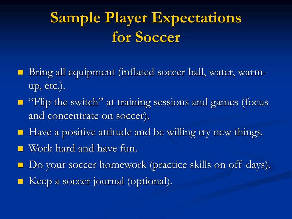 Sample Player Expectations