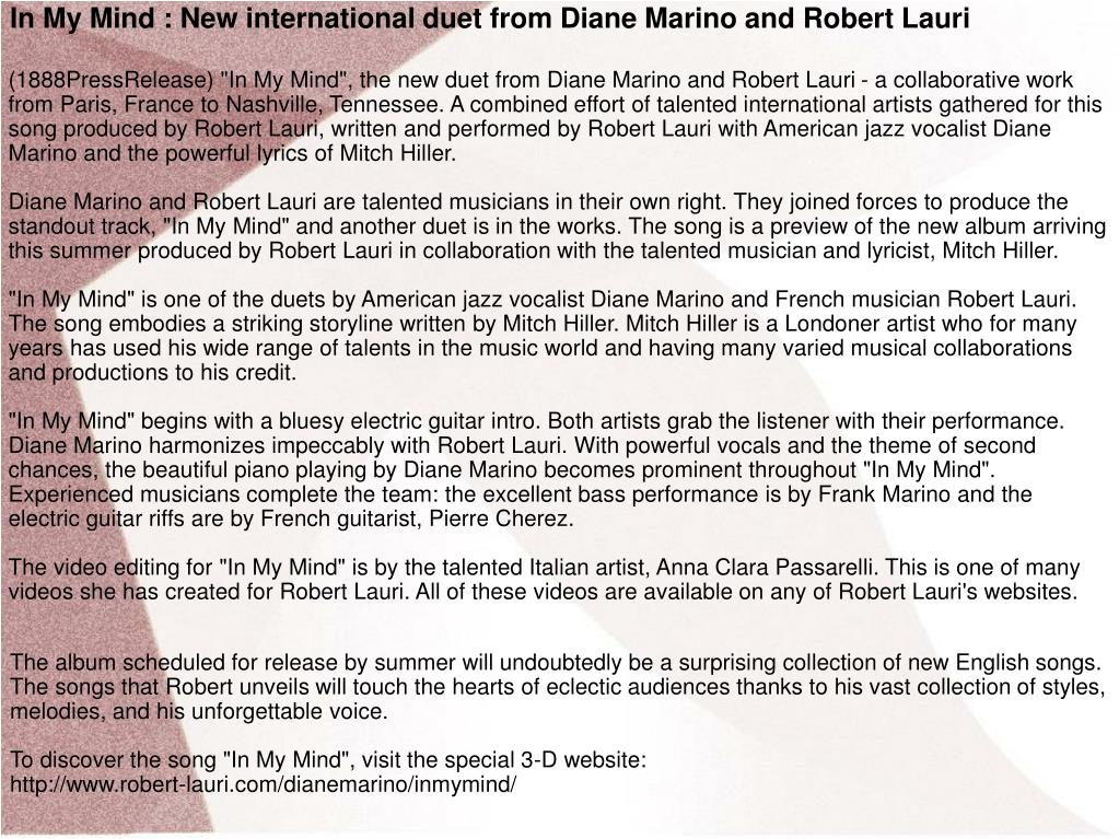 In My Mind : New international duet from Diane Marino and Robert Lauri