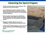 advancing our sports program