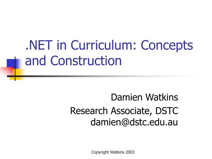net in curriculum concepts and construction n.