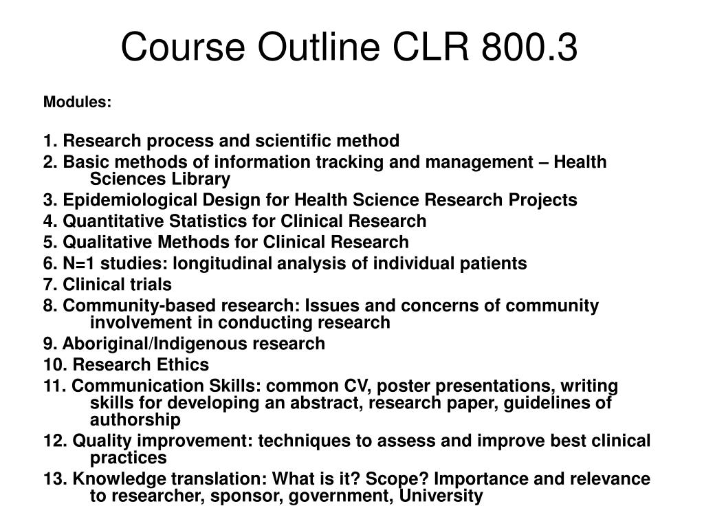 Course Outline CLR 800.3