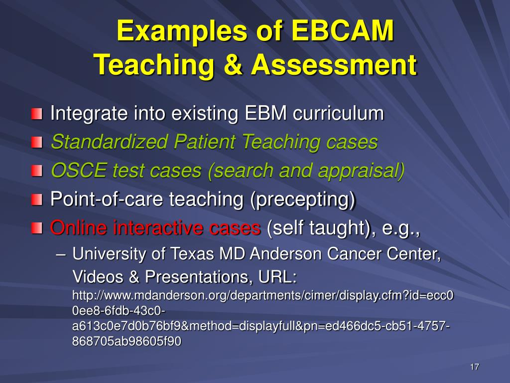 Examples of EBCAM