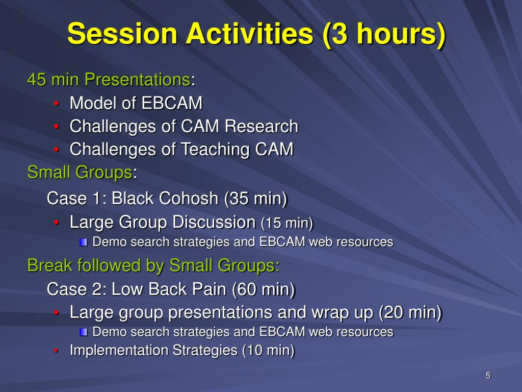 Session Activities (3 hours)