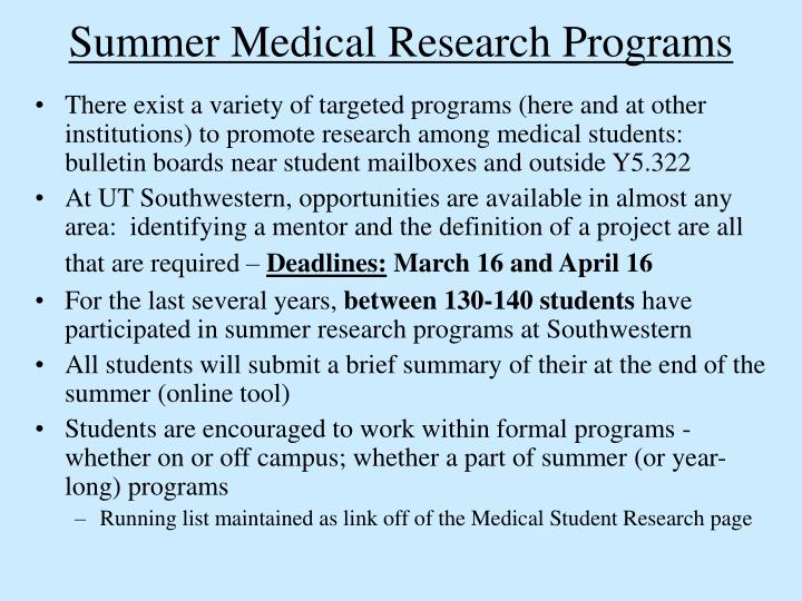 summer medical research programs n.