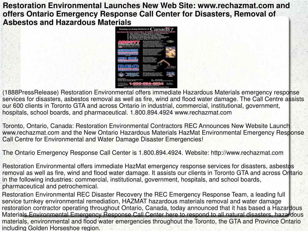 Restoration Environmental Launches New Web Site: www.rechazmat.com and offers Ontario Emergency Response Call Center for Disasters, Removal of Asbestos and Hazardous Materials