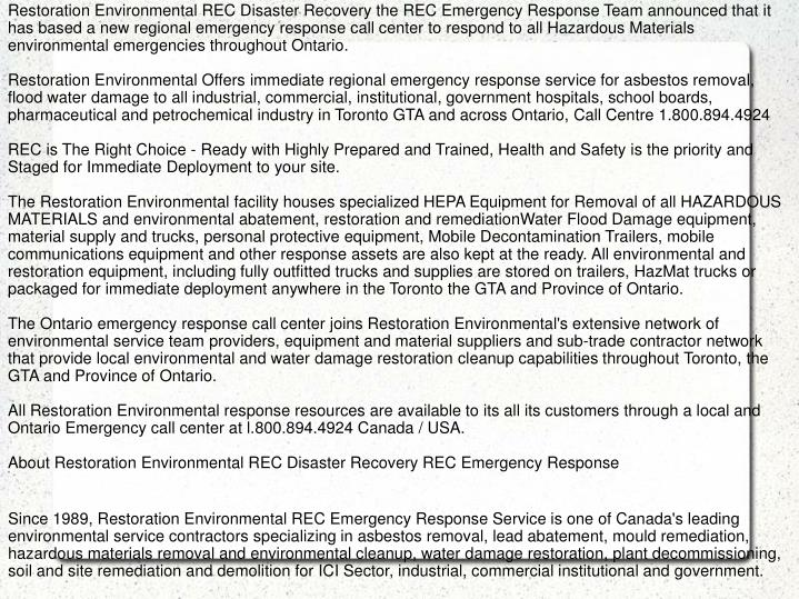 Restoration Environmental REC Disaster Recovery the REC Emergency Response Team announced that it ha...