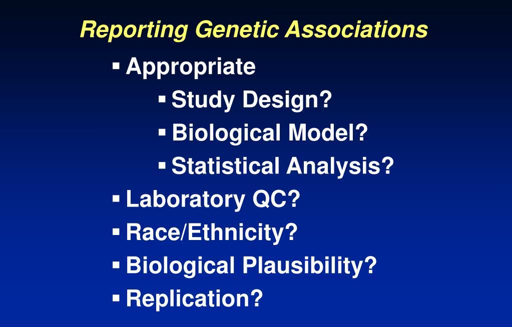 Reporting Genetic Associations