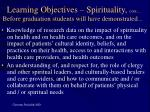 learning objectives spirituality cont before graduation students will have demonstrated