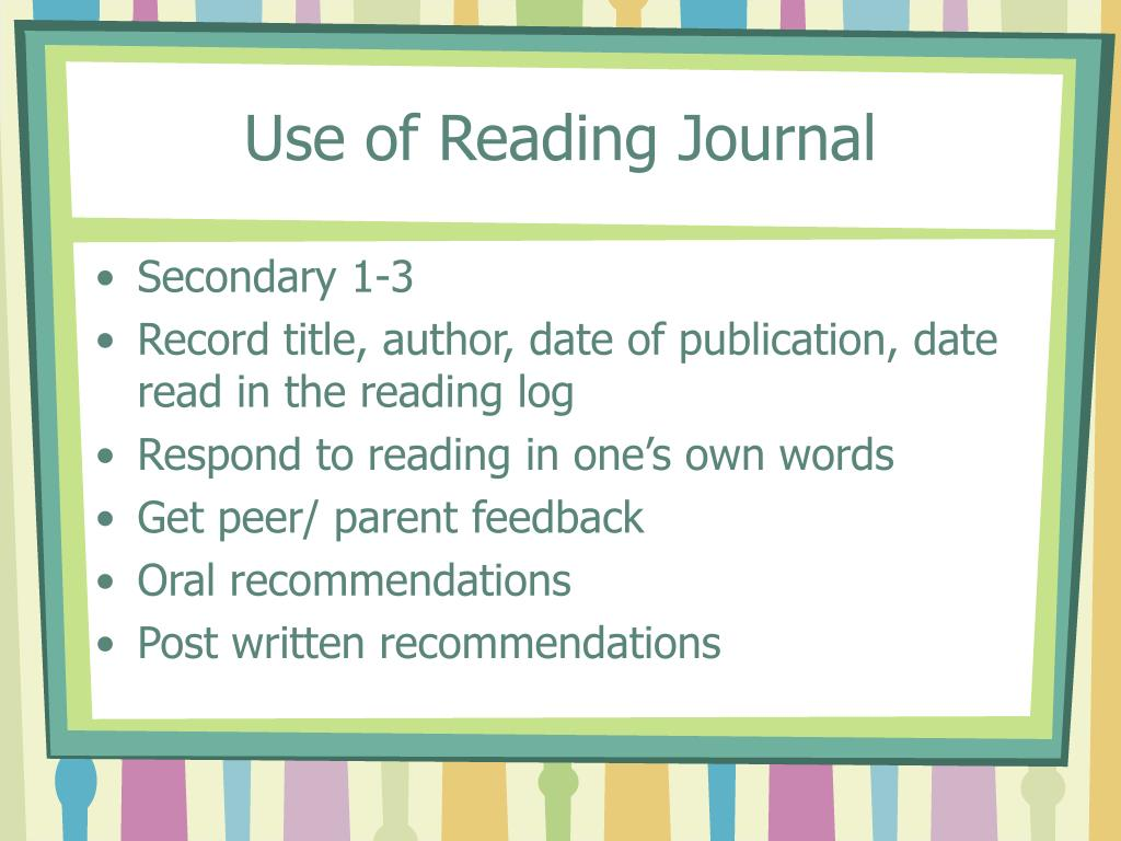Use of Reading Journal