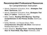 recommended professional resources for comprehension instruction