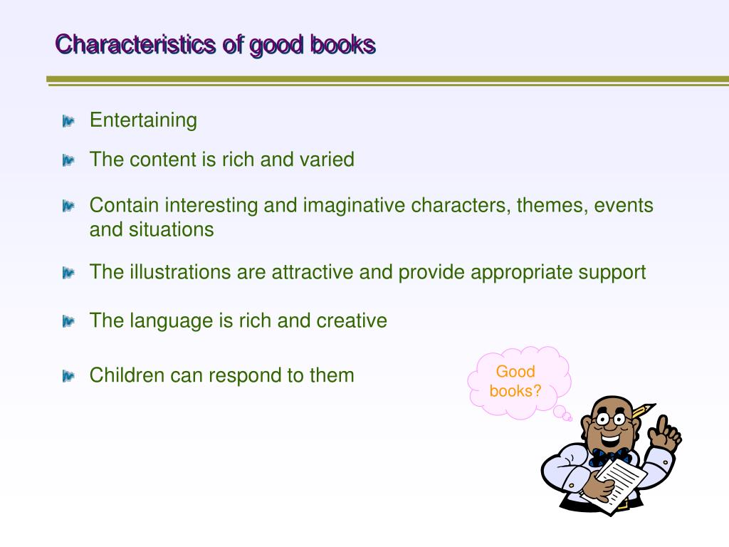 Characteristics of good books