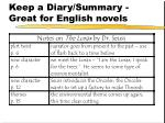 keep a diary summary great for english novels