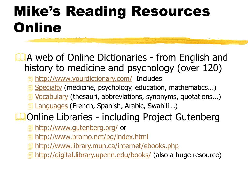 Mike's Reading Resources Online