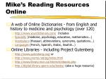 mike s reading resources online