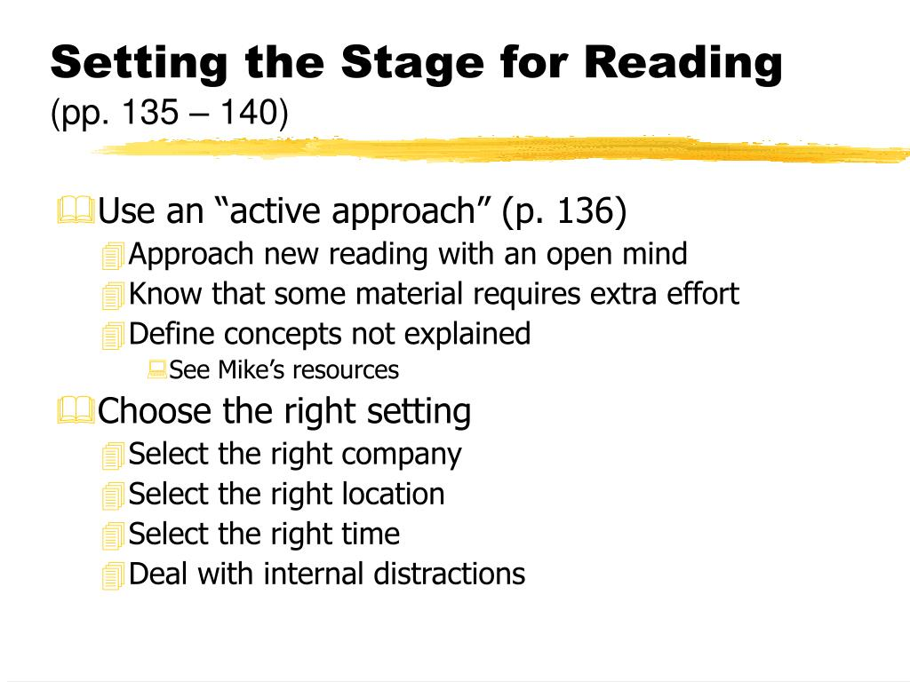 Setting the Stage for Reading
