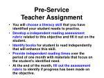 pre service teacher assignment