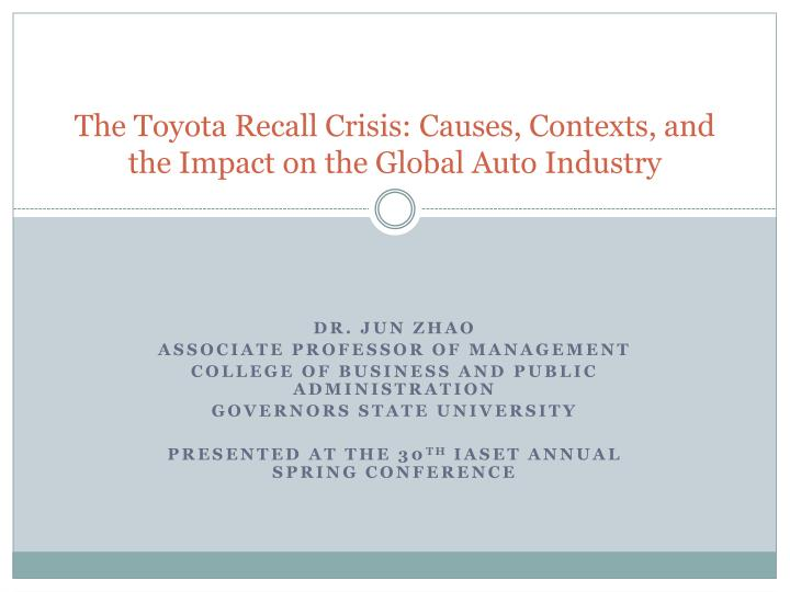 auto crisis essay Toyota crisis: management ignorance growing numbers of wires, sensors and computer chips embedded in auto electronics have.