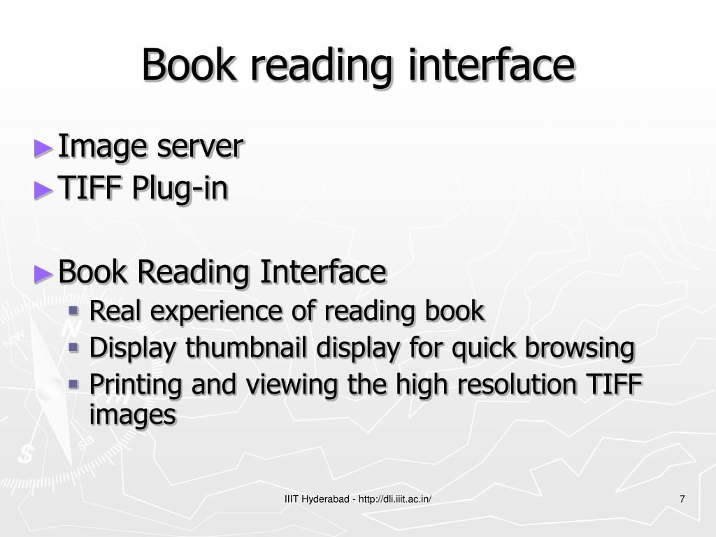 Book reading interface
