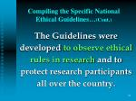 compiling the specific national ethical guidelines cont