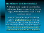 the status of the embryo cont31
