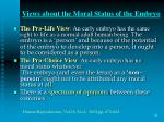 views about the moral status of the embryo