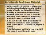 variations in read aloud material