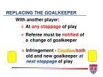replacing the goalkeeper