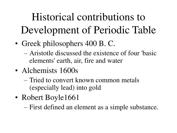 Ppt historical development of the periodic table powerpoint historical contributions to development of periodic table urtaz Images