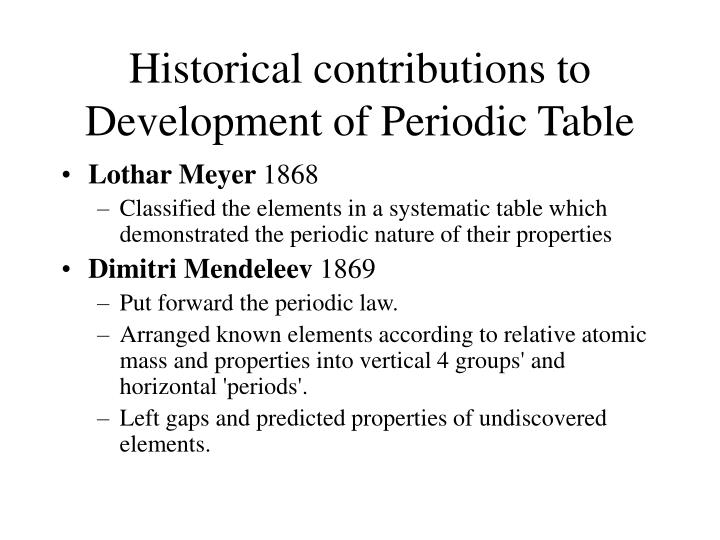 Ppt Historical Development Of The Periodic Table Powerpoint