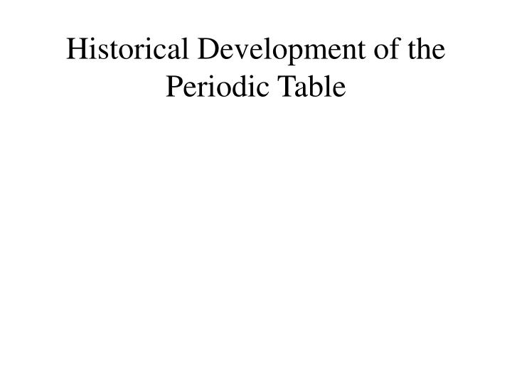 historical development of the periodic table n.