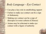 body language eye contact