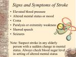signs and symptoms of stroke