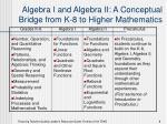 algebra i and algebra ii a conceptual bridge from k 8 to higher mathematics