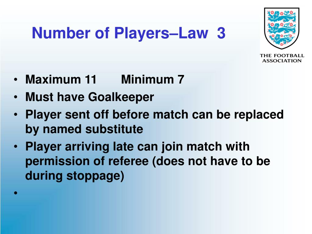 number of players law 3 l.