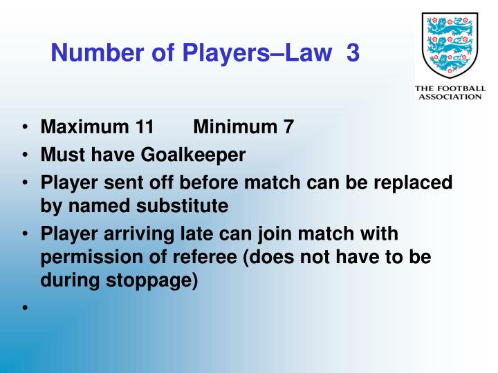 number of players law 3 n.