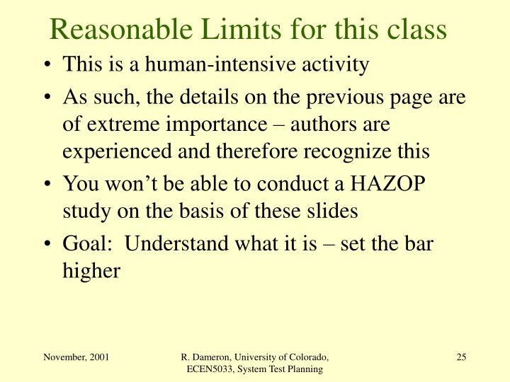 Reasonable Limits for this class