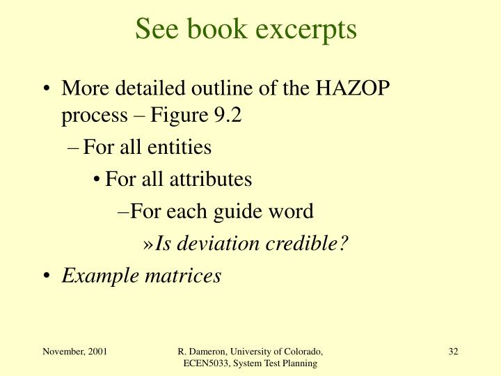 More detailed outline of the HAZOP process – Figure 9.2
