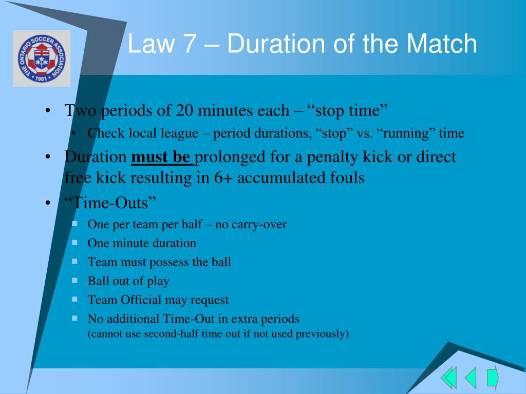 Law 7 – Duration of the Match