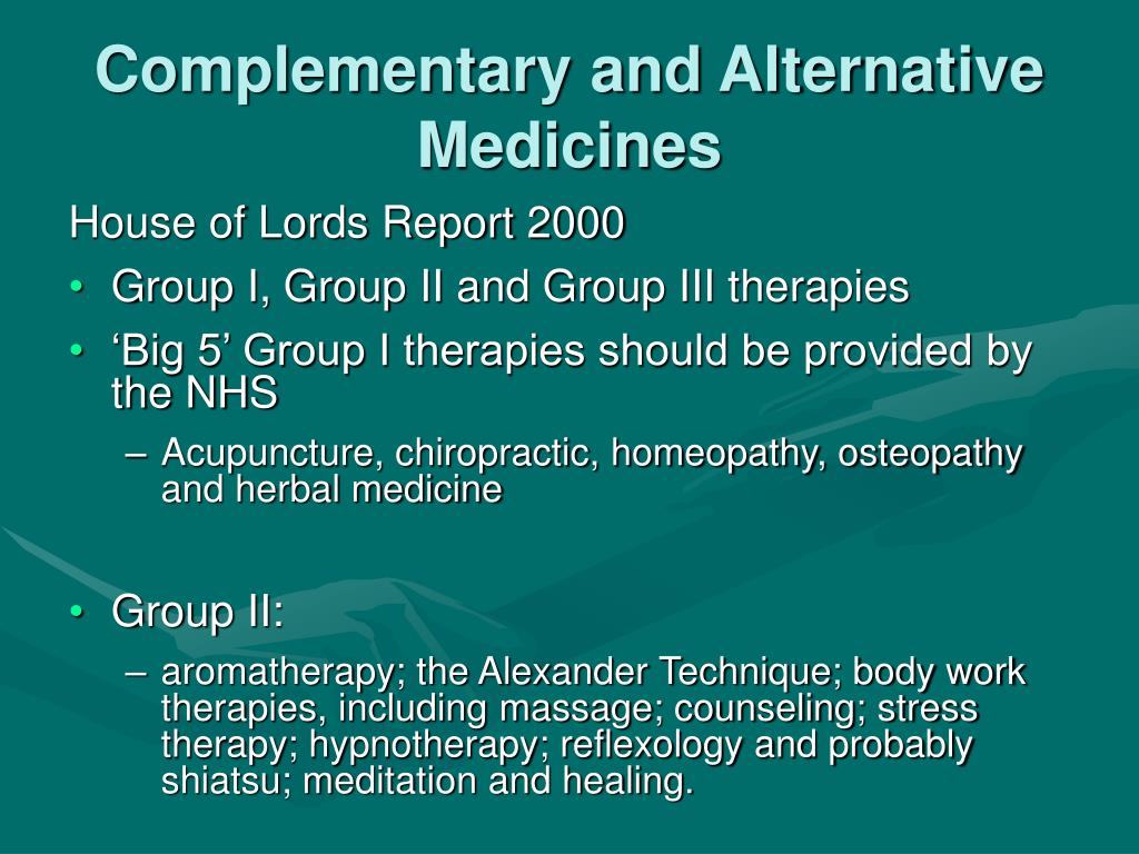 Complementary and Alternative Medicines