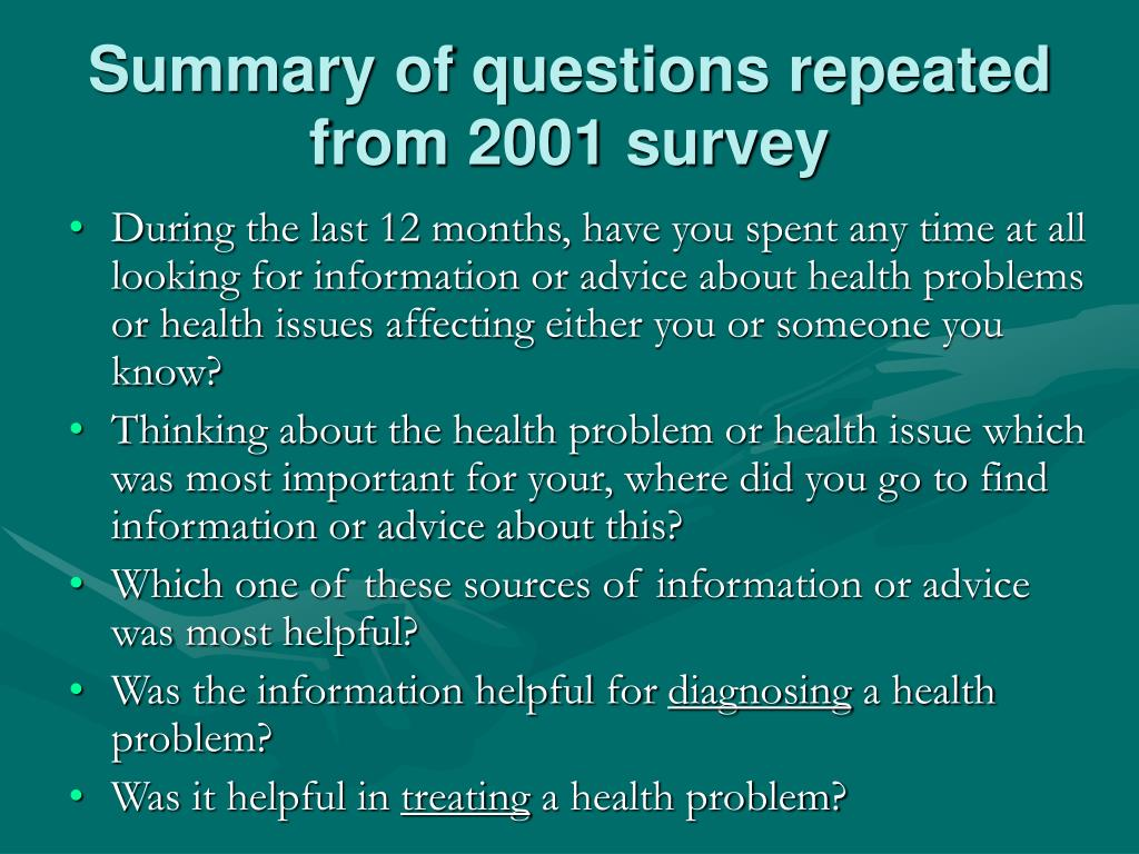 Summary of questions repeated from 2001 survey