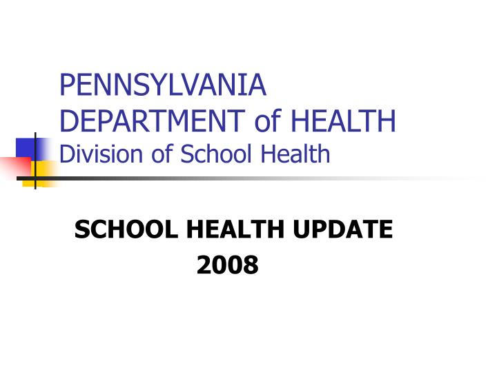 pennsylvania department of health division of school health n.