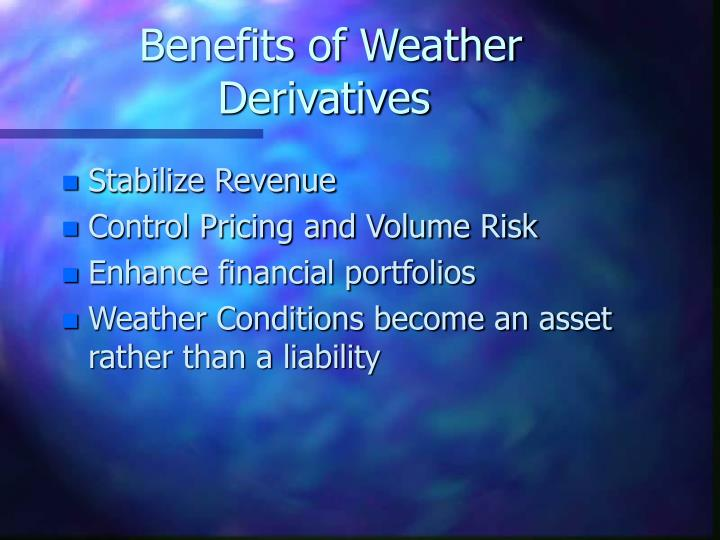 Benefits of Weather Derivatives
