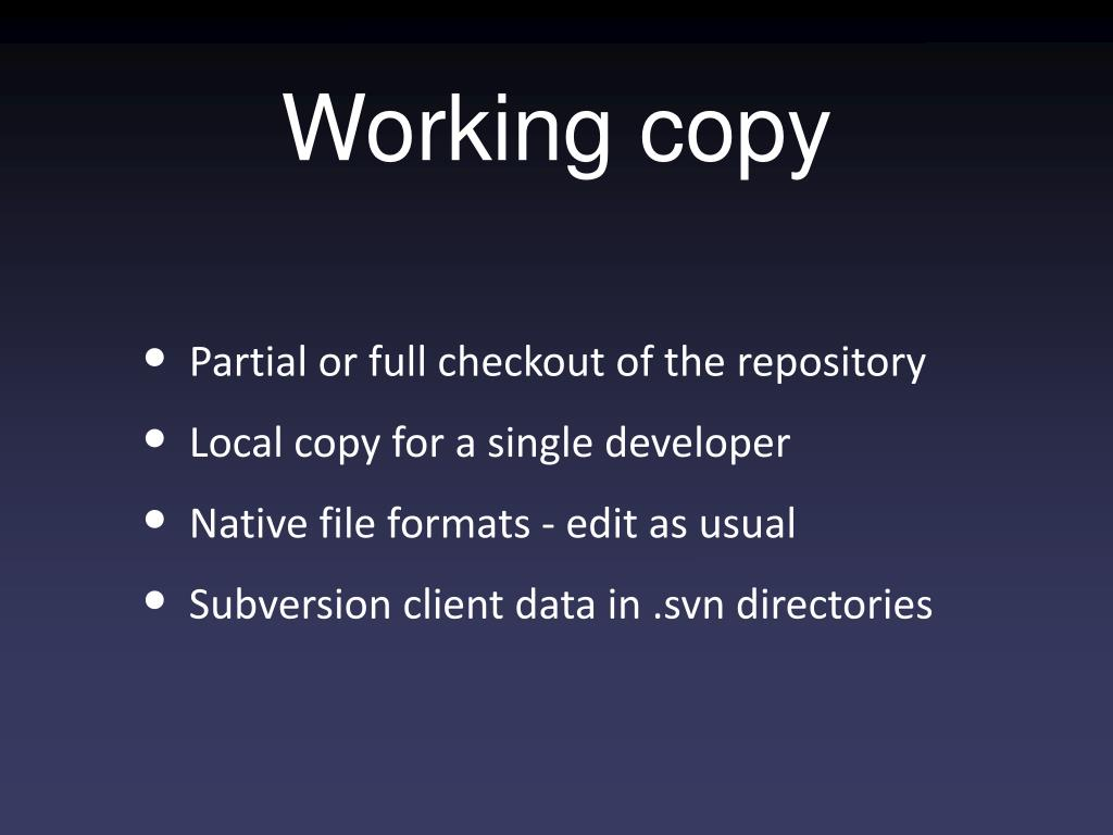 Working copy