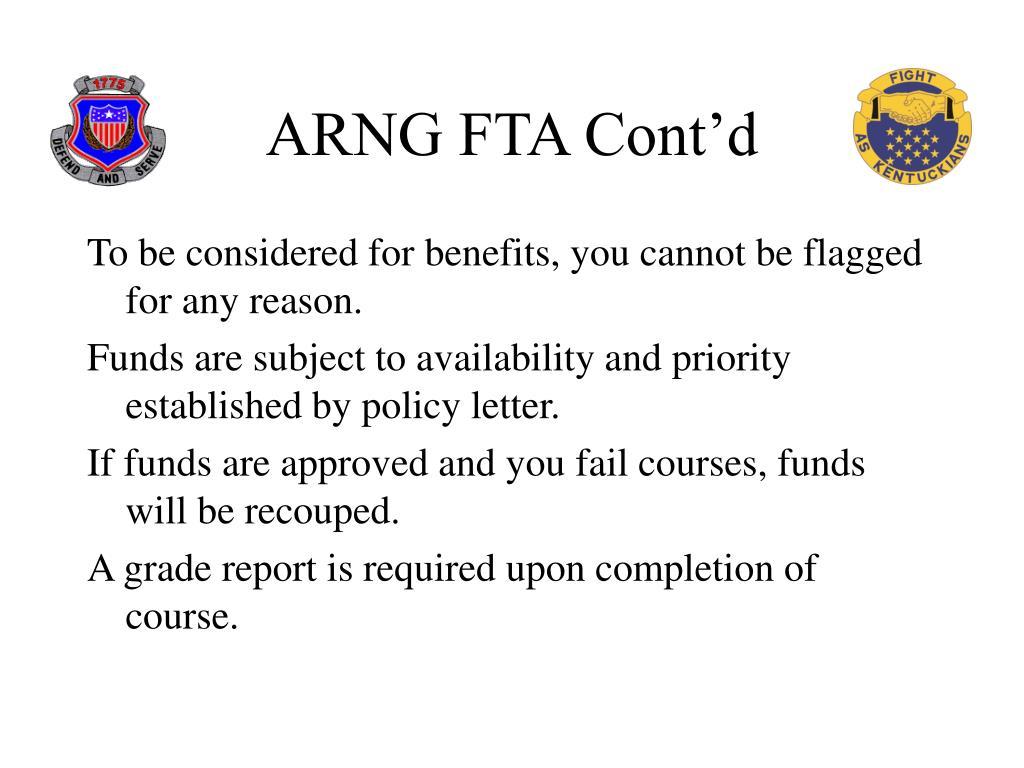 ARNG FTA Cont'd