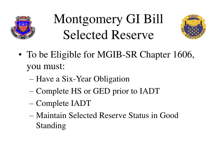 Montgomery gi bill selected reserve