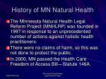 history of mn natural health