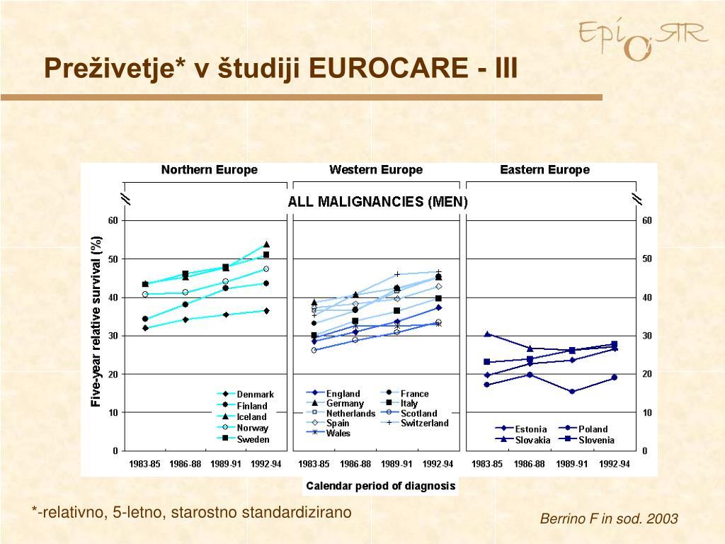Preživetje* v študiji EUROCARE - III