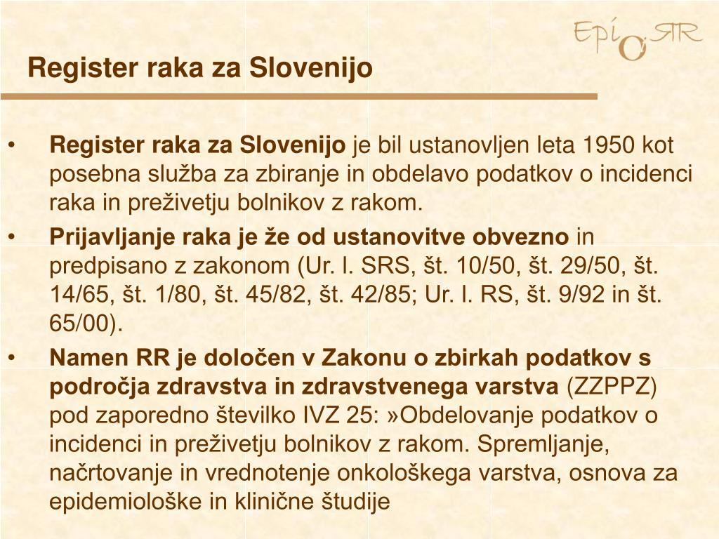 Register raka za Slovenijo
